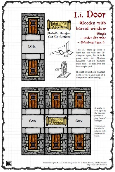 image about Printable Dungeon Tiles Pdf named - Inked Adventures: Low Dungeon Doorway PDF