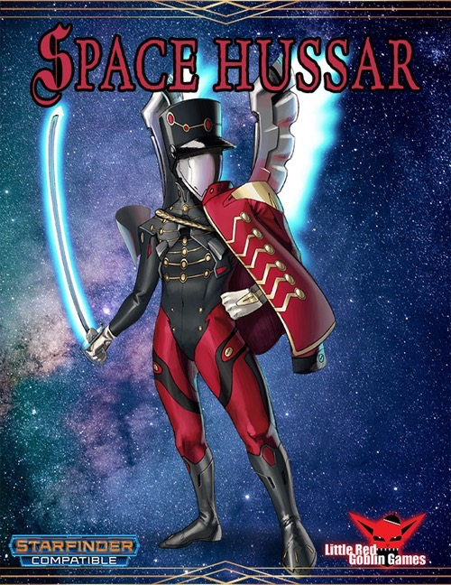 Space Hussar — Base Class PDF: a character with their face covered by a metal shield, wearing a red and black uniform, and a sword in their right hand