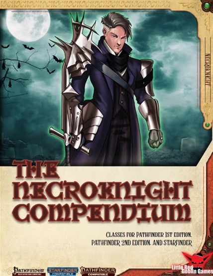 Necroknight Compendium (PFRPG/PF2E/SFRPG) PDF: A man stands in a long jacket with metal gauntlets and pauldrons with a sword in one hand