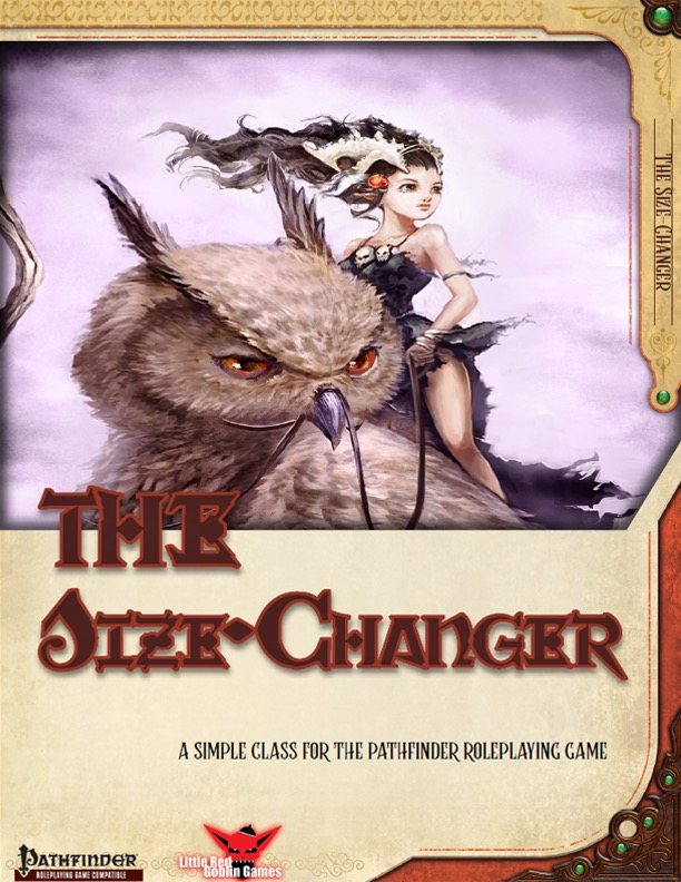 the size changer pdf: a small elf-life woman sitting on the back of an owl