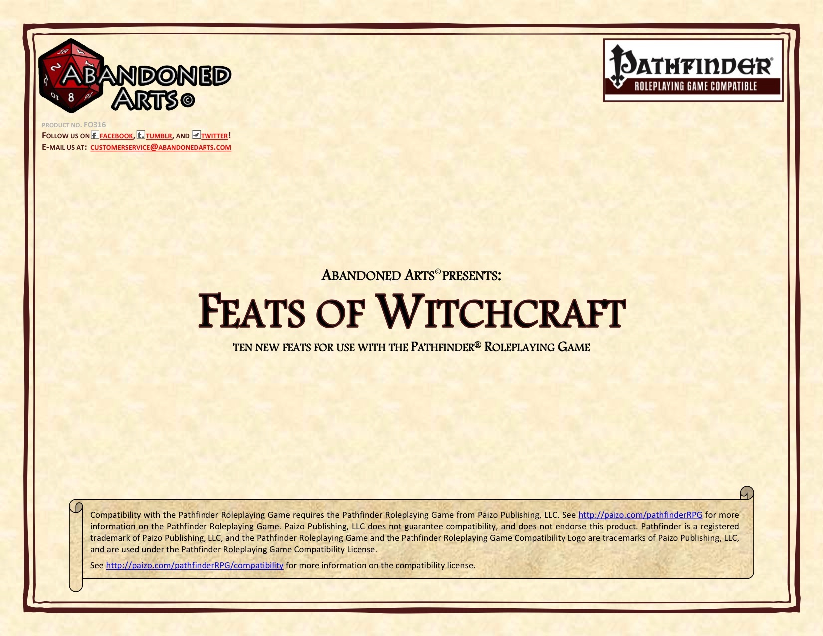 Feats of Witchcraft (PFRPG) PDF