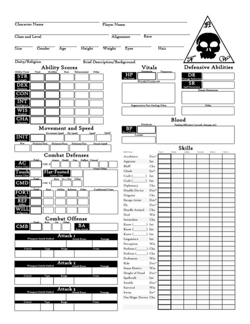 image relating to Pathfinder Character Sheet Printable identified as - Identity Sheet Pack (PFRPG) PDF
