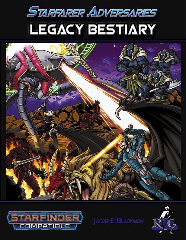 Starfarer Adversaries: Legacy Bestiary Book PDF: a large group battling around a portal that monsters are appearing from