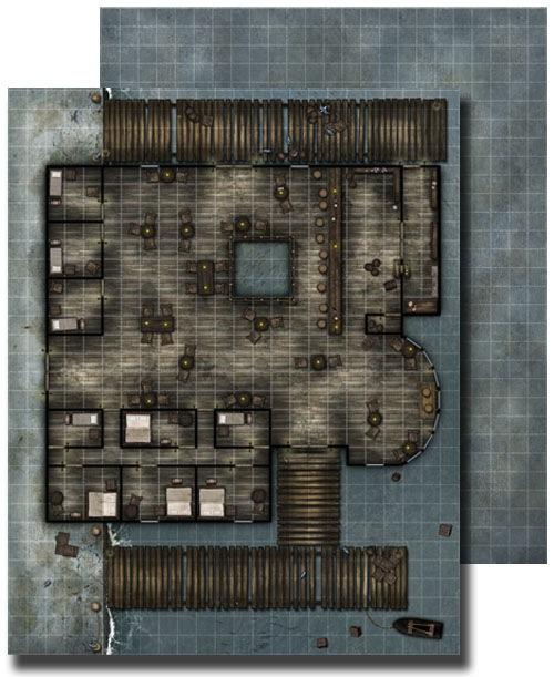 Paizo Com Gamemastery Flip Mat Waterfront Tavern