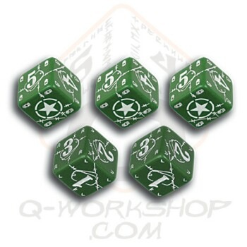 Q Workshop  Battle Dice 10x United States USA Green with white D6s