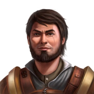 Eando Kline, a bearded male human with a scar over his left eye, leader of the Vigilant Seal.