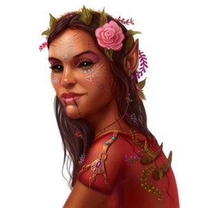 Fola Barun, a black-eyed female elf with flowers in her hair and colorful patterns painted on her face, leader of the Envoys' Alliance.