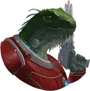 Radaszam, a vesk male in red battle armor wielding a pistol, leader of the Acquisitives.
