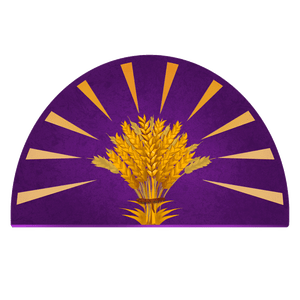 A purple half-circle bordered with golden rays emanating from a sheaf of wheat in the center, symbol of the Radiant Oath.