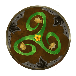 Verdant Wheel faction symbol, brown wheel with metal decorations along the edge and a three pointed vine in the middle