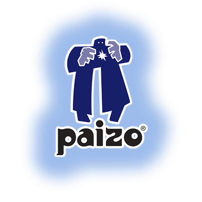 Paizo's golem logo with a soft blue outer glow