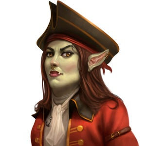 Calisro Benarry, a female half-orc corsair in a red jacket and black tricorn hat, leader of the Horizon Hunters.