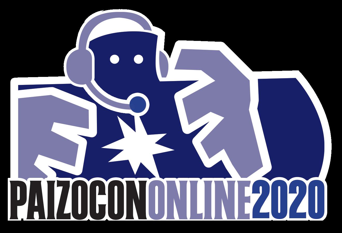 PaizoCon Online logo with Paizo golem wearing headset