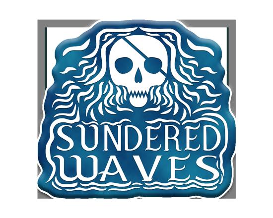 Pathfinder Sundered Waves logo. A stylized white skull on a blue background