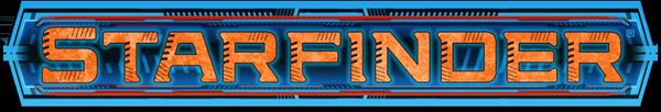 Starfinder logo: orange text over a blue background