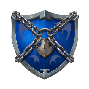 Vigilant Seal faction symbol, blue shield with chains wrapped around and logged together in center front