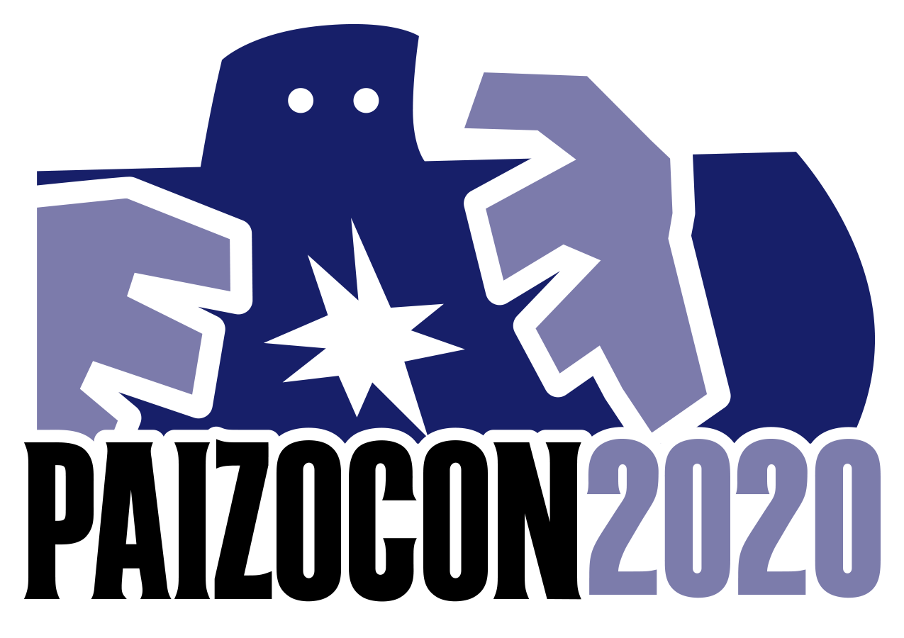 PaizoCon 2020 Art and Logo. Head and upper torso of purple stone golem with glowing eyes and purple lightning magic coming from its hands.