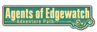 Agents of Edgewatch Adventure Path, text logo soft yellow text on emerald green background