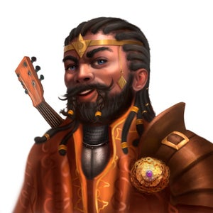 Gorm Greathammer, a smiling male dwarf with a lute slung on his back and a golden circlet on his head, leader of the Grand Archive.