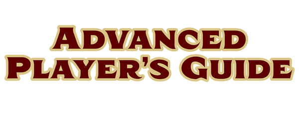 Pathfinder Advanced Player's Guide text graphic, red text with gold outline