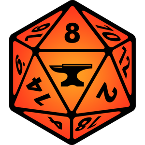 Foundry logo, an orange D-20 dice with an anvil in place of the 20