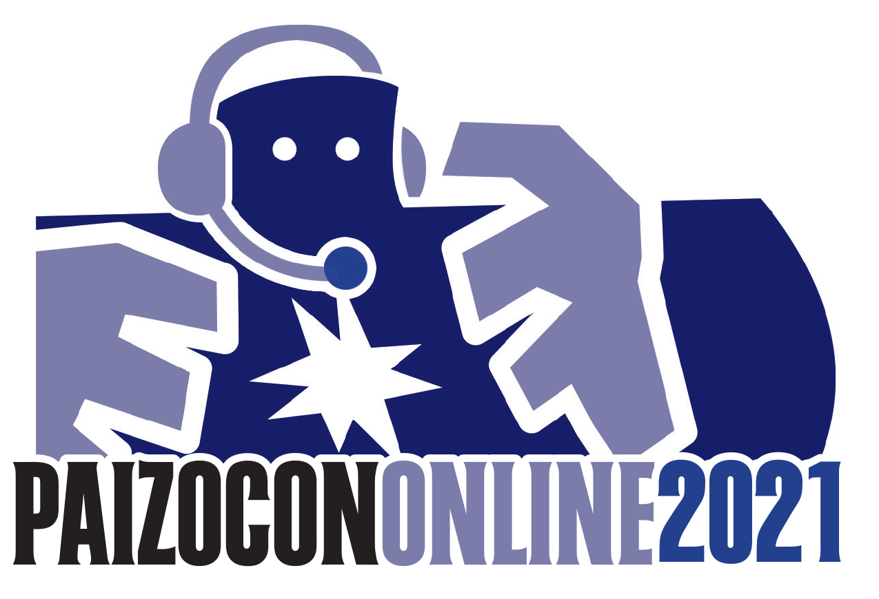 PaizoCon 2021 Art and Logo. Head and upper torso of purple stone golem with with a headset and mic