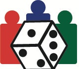 Organized Play Foundation Logo: A red, blue, and green pawn figure behind a six sided dice