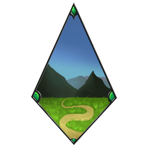 A diamond-shaped sigil depicting a path winding through a grassy field to the mountains beyond, symbol of the Horizon Hunters.