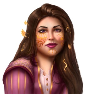 Valais Durant, a female aasimar with purple silk garments and striking patterns of gold playing across her face, leader of the Radiant Oath.