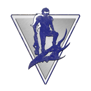 A blue silhouette of an adventurer superimposed over an inverted silver triangle, symbol of the Acquisitives.