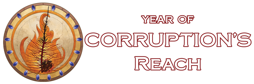 Year of Corruption's Reach symbol of a shield with a painted tree branch on fire
