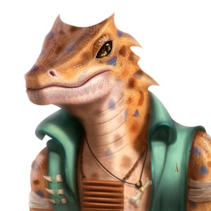 Orwal, a spotted lizardfolk in a green vest, leader of the Verdant Wheel.