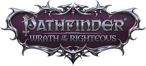 Pathfinder Wrath of the Righteous logo, silver text on a dark purple background