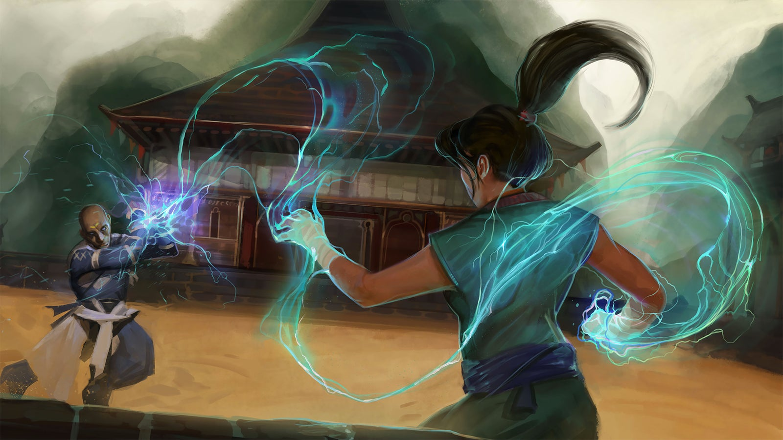 Two martial artists fight in the center of a wide arena. A spiraling bolt of lightning arcs from one's outstretched hand and is reflected off the other's crossed bracers.